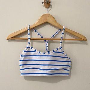 Lululemon White Blue power Y sports bra